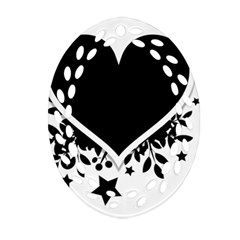 Silhouette Heart Black Design Oval Filigree Ornament (Two Sides)