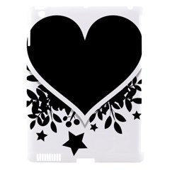 Silhouette Heart Black Design Apple Ipad 3/4 Hardshell Case (compatible With Smart Cover)