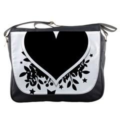 Silhouette Heart Black Design Messenger Bags