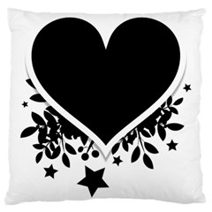Silhouette Heart Black Design Large Cushion Case (Two Sides)