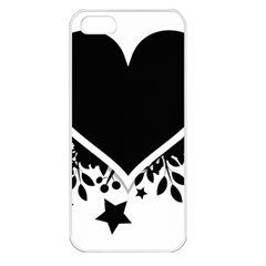 Silhouette Heart Black Design Apple iPhone 5 Seamless Case (White)