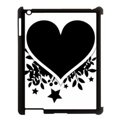Silhouette Heart Black Design Apple iPad 3/4 Case (Black)