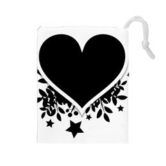 Silhouette Heart Black Design Drawstring Pouches (large)