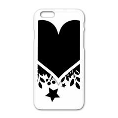 Silhouette Heart Black Design Apple Iphone 6/6s White Enamel Case