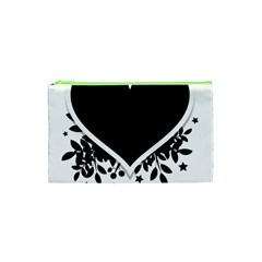 Silhouette Heart Black Design Cosmetic Bag (xs)