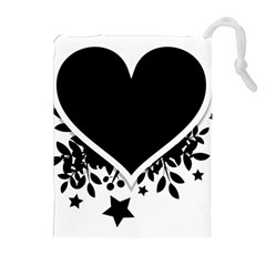 Silhouette Heart Black Design Drawstring Pouches (extra Large)