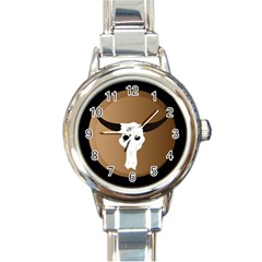 Logo The Cow Animals Round Italian Charm Watch