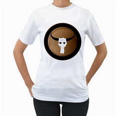 Logo The Cow Animals Women s T Shirt (white) (two Sided)
