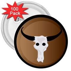 Logo The Cow Animals 3  Buttons (100 pack)