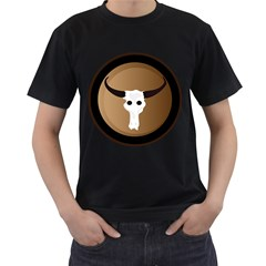 Logo The Cow Animals Men s T-Shirt (Black) (Two Sided)