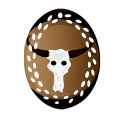 Logo The Cow Animals Oval Filigree Ornament (Two Sides)
