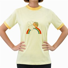 Angel Rainbow Cute Cartoon Angelic Women s Fitted Ringer T-Shirts
