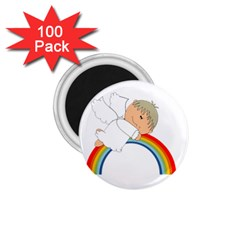 Angel Rainbow Cute Cartoon Angelic 1 75  Magnets (100 Pack)