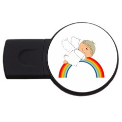 Angel Rainbow Cute Cartoon Angelic Usb Flash Drive Round (2 Gb)