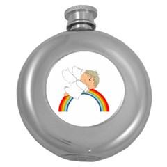 Angel Rainbow Cute Cartoon Angelic Round Hip Flask (5 Oz)