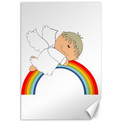 Angel Rainbow Cute Cartoon Angelic Canvas 12  x 18