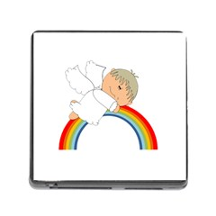 Angel Rainbow Cute Cartoon Angelic Memory Card Reader (square)