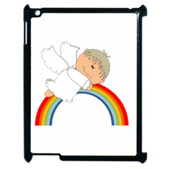 Angel Rainbow Cute Cartoon Angelic Apple iPad 2 Case (Black)