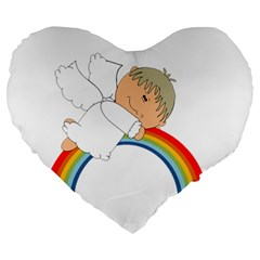 Angel Rainbow Cute Cartoon Angelic Large 19  Premium Heart Shape Cushions