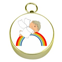 Angel Rainbow Cute Cartoon Angelic Gold Compasses