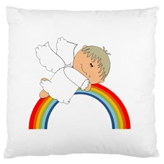 Angel Rainbow Cute Cartoon Angelic Large Flano Cushion Case (two Sides)