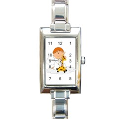 Pet Giraffe Angel Cute Boy Rectangle Italian Charm Watch