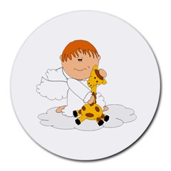 Pet Giraffe Angel Cute Boy Round Mousepads