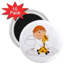 Pet Giraffe Angel Cute Boy 2 25  Magnets (10 Pack)