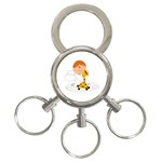 Pet Giraffe Angel Cute Boy 3-Ring Key Chains Front