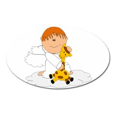 Pet Giraffe Angel Cute Boy Oval Magnet