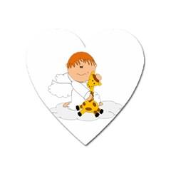 Pet Giraffe Angel Cute Boy Heart Magnet