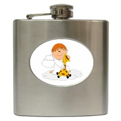 Pet Giraffe Angel Cute Boy Hip Flask (6 Oz)