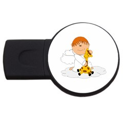 Pet Giraffe Angel Cute Boy Usb Flash Drive Round (4 Gb)