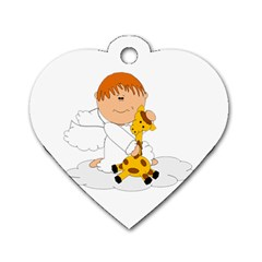 Pet Giraffe Angel Cute Boy Dog Tag Heart (Two Sides)