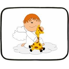 Pet Giraffe Angel Cute Boy Fleece Blanket (Mini)