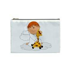 Pet Giraffe Angel Cute Boy Cosmetic Bag (medium)