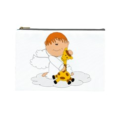Pet Giraffe Angel Cute Boy Cosmetic Bag (Large)