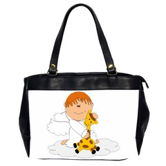 Pet Giraffe Angel Cute Boy Office Handbags (2 Sides)