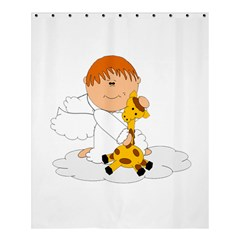Pet Giraffe Angel Cute Boy Shower Curtain 60  x 72  (Medium)