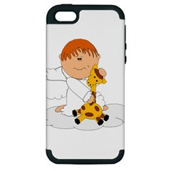 Pet Giraffe Angel Cute Boy Apple Iphone 5 Hardshell Case (pc+silicone)