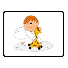 Pet Giraffe Angel Cute Boy Double Sided Fleece Blanket (Small)