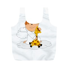 Pet Giraffe Angel Cute Boy Full Print Recycle Bags (m)