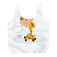 Pet Giraffe Angel Cute Boy Full Print Recycle Bags (l)
