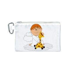 Pet Giraffe Angel Cute Boy Canvas Cosmetic Bag (S)