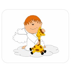 Pet Giraffe Angel Cute Boy Double Sided Flano Blanket (Medium)