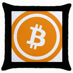Bitcoin Cryptocurrency Currency Throw Pillow Case (black)