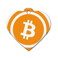 Bitcoin Cryptocurrency Currency Dog Tag Heart (one Side)