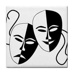 Theatermasken Masks Theater Happy Tile Coasters