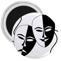 Theatermasken Masks Theater Happy 3  Magnets