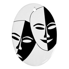 Theatermasken Masks Theater Happy Ornament (oval)